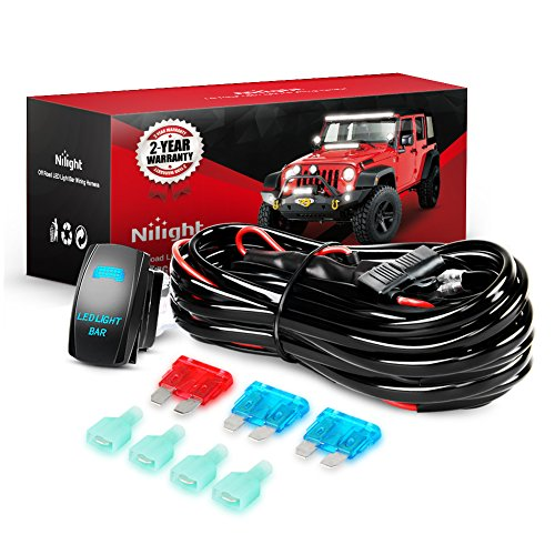 Heavy Duty Led Light Bar Wiring Harness 2 Lead with Switch 3 Meter 12V 40A For Connecting 2 LED Off Road 4X4 Truck SUV 4WD ATV Driving Light Bar