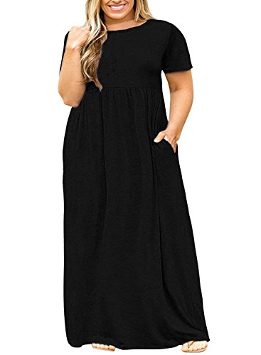 c71213ccc28 Nemidor Women Short Sleeve Loose Plain Casual Plus Size Long Maxi ...
